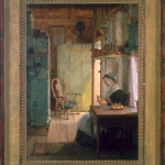 Thomas Hick's painting of a woman seated in a kitchen dressed in black and white peeling an apple next to a sunlit window with an empty chair in the background with frame of painting visible.