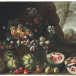 Painting of a group of fruit and vegetables outside