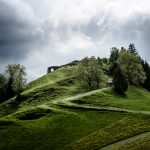Picture of a green grassy hill with trees and a trail on it.