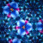 image of blue and pink pansy shapes from a kaleidoscope
