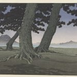color image of a Japanese woodblock print depicting tress in a landscape.